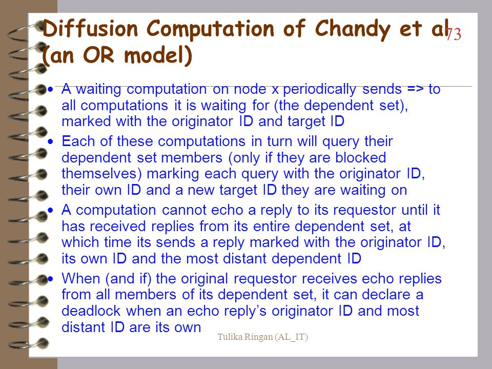 Diffusion Computation of Chandy et al (an OR model)