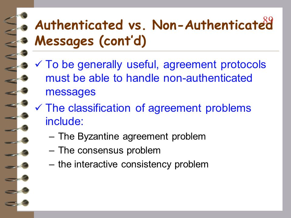 Authenticated vs. Non-Authenticated Messages (cont'd)