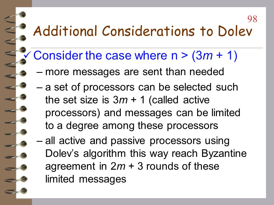 Additional Considerations to Dolev