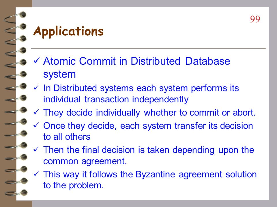 Applications Atomic Commit in Distributed Database system