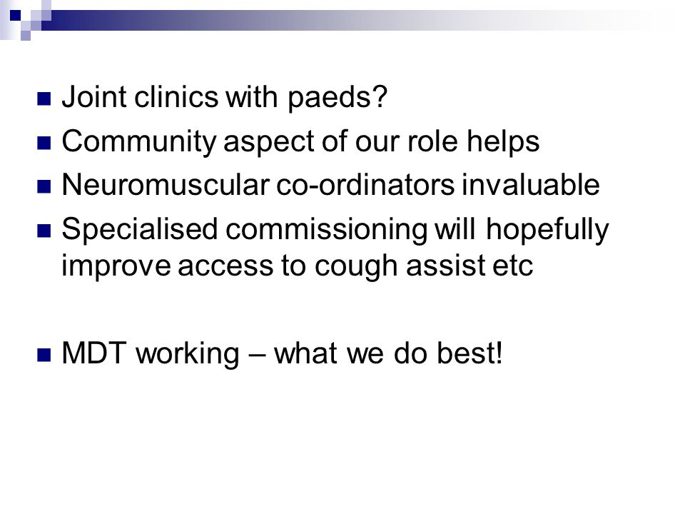 Joint clinics with paeds