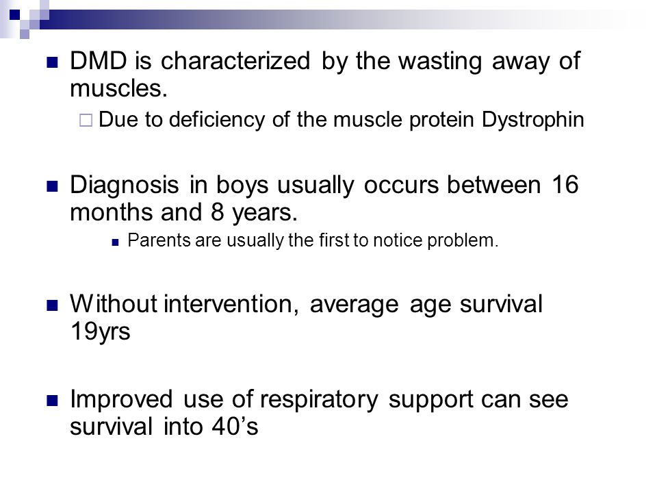 DMD is characterized by the wasting away of muscles.