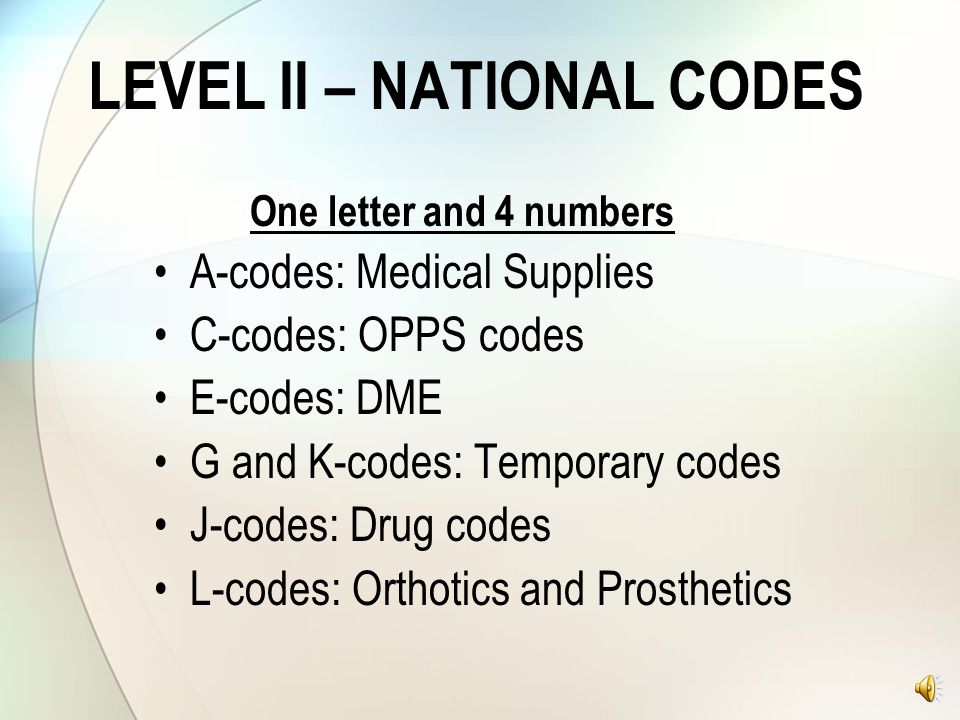 LEVEL II – NATIONAL CODES