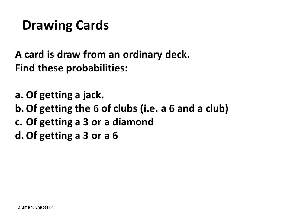 Drawing Cards A card is draw from an ordinary deck.