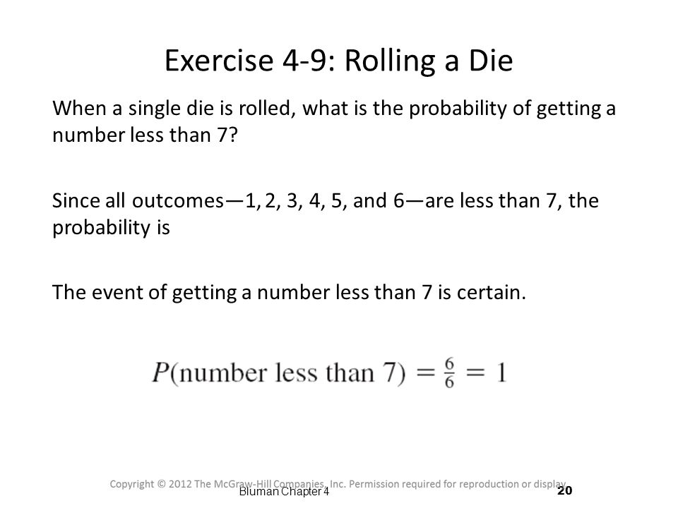 Exercise 4-9: Rolling a Die