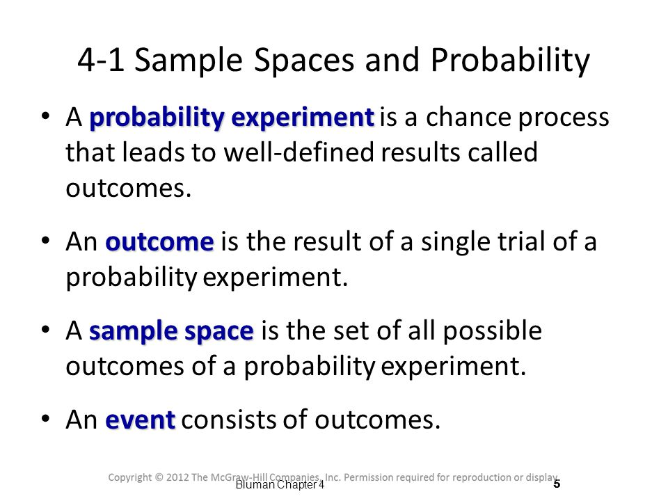 4-1 Sample Spaces and Probability
