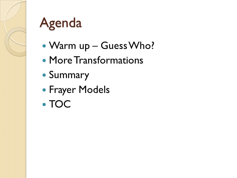 Agenda Warm up – Guess Who More Transformations Summary Frayer Models
