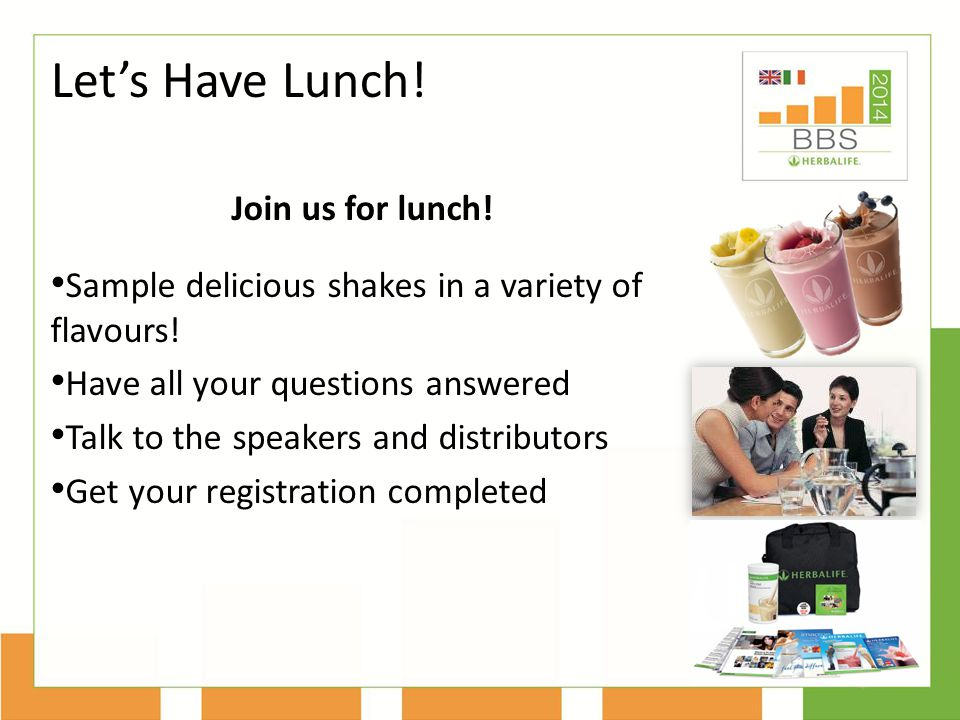 Let's Have Lunch! Join us for lunch!