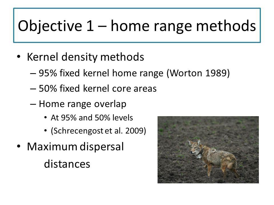 Objective 1 – home range methods