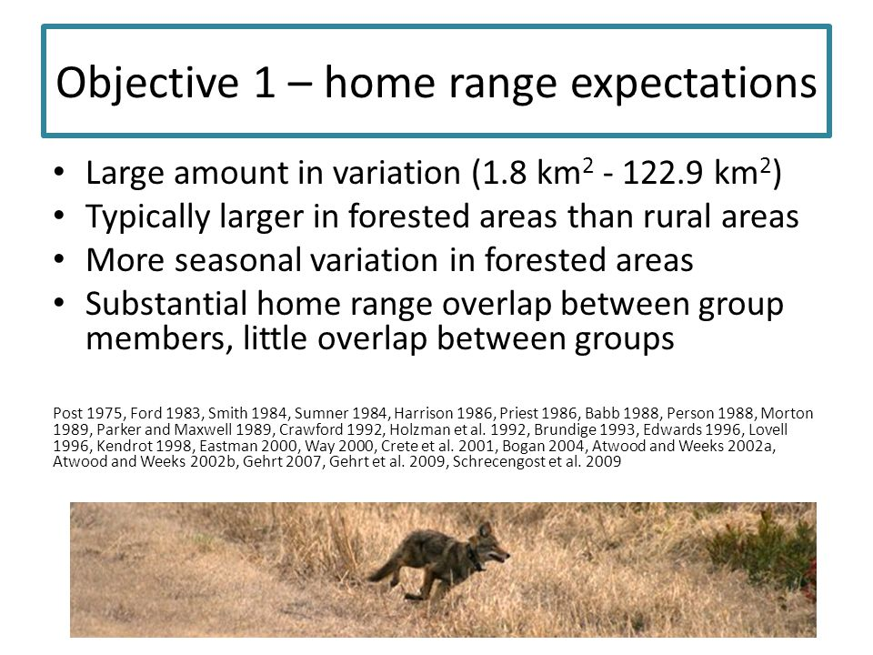 Objective 1 – home range expectations