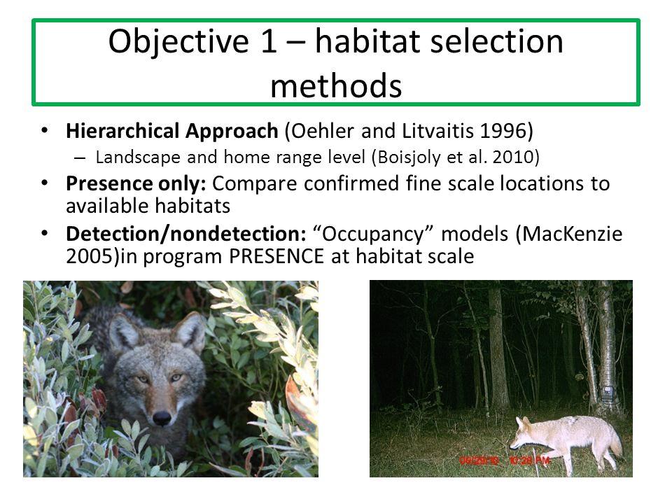 Objective 1 – habitat selection methods