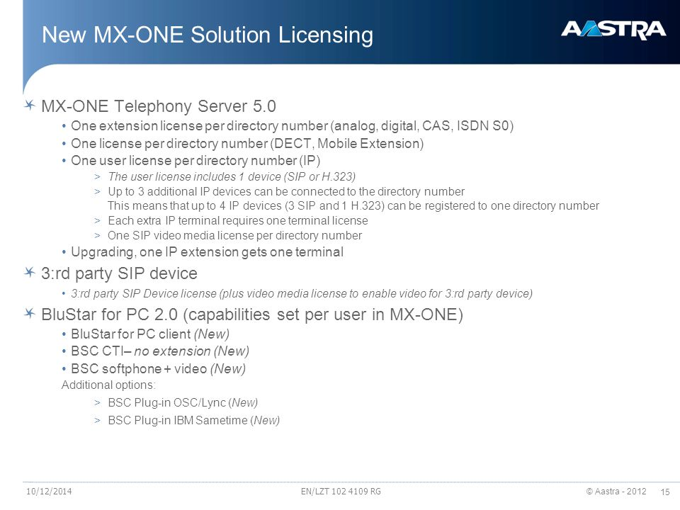 New MX-ONE Solution Licensing