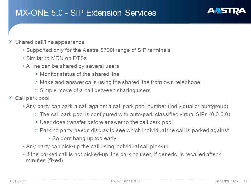 MX-ONE 5.0 - SIP Extension Services