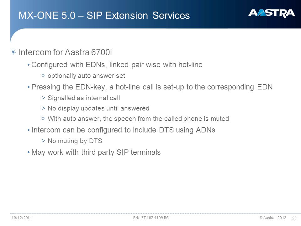 MX-ONE 5.0 – SIP Extension Services
