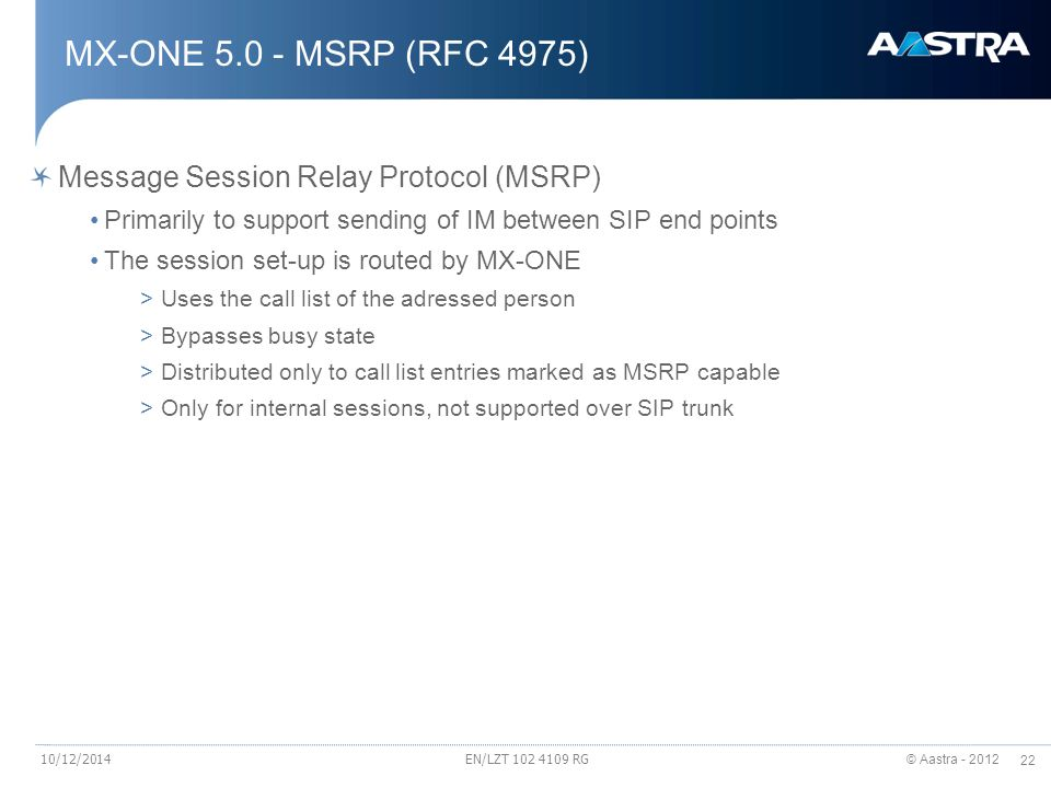 MX-ONE 5.0 - MSRP (RFC 4975) Message Session Relay Protocol (MSRP)