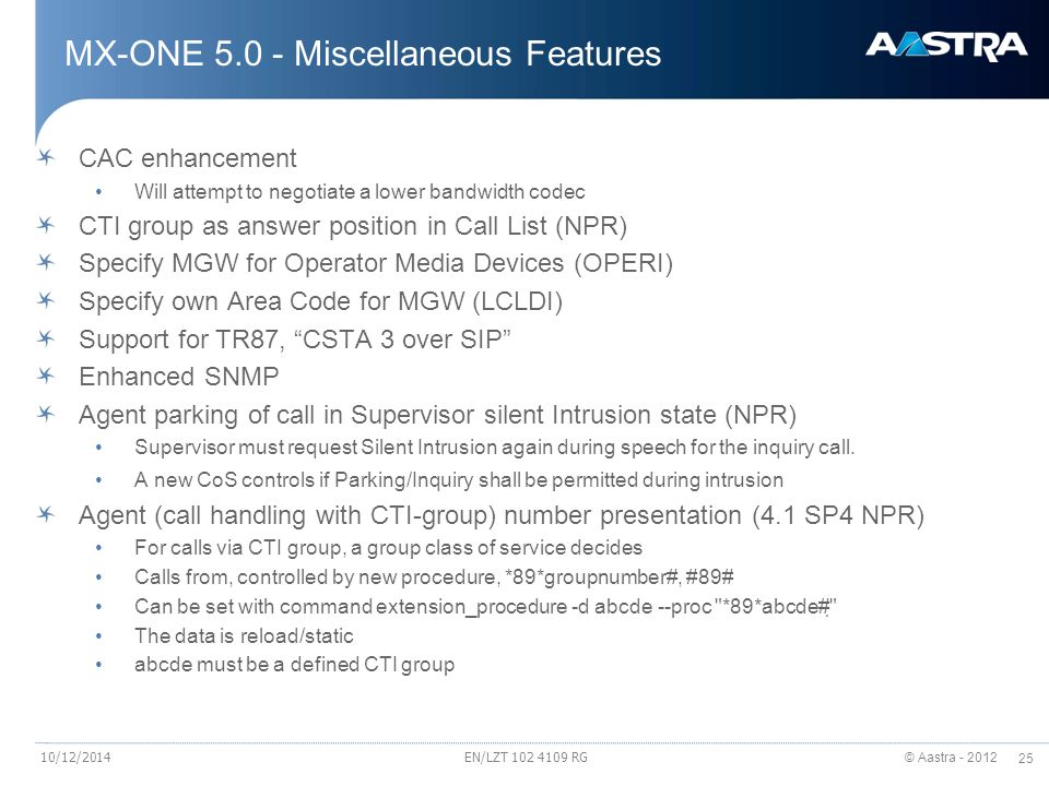 MX-ONE 5.0 - Miscellaneous Features