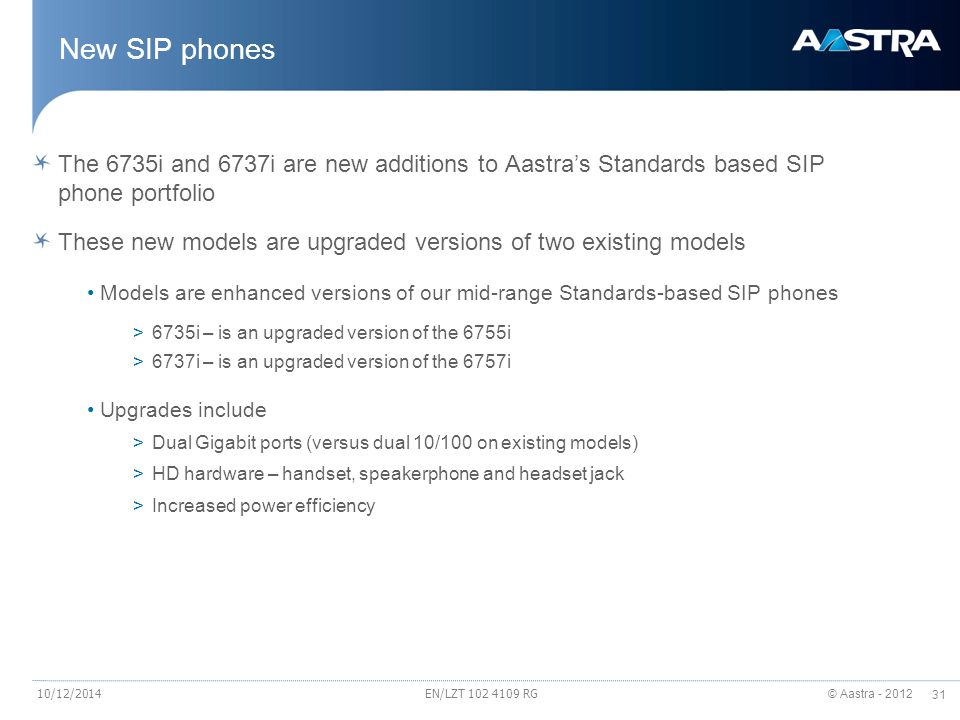New SIP phones The 6735i and 6737i are new additions to Aastra's Standards based SIP phone portfolio.