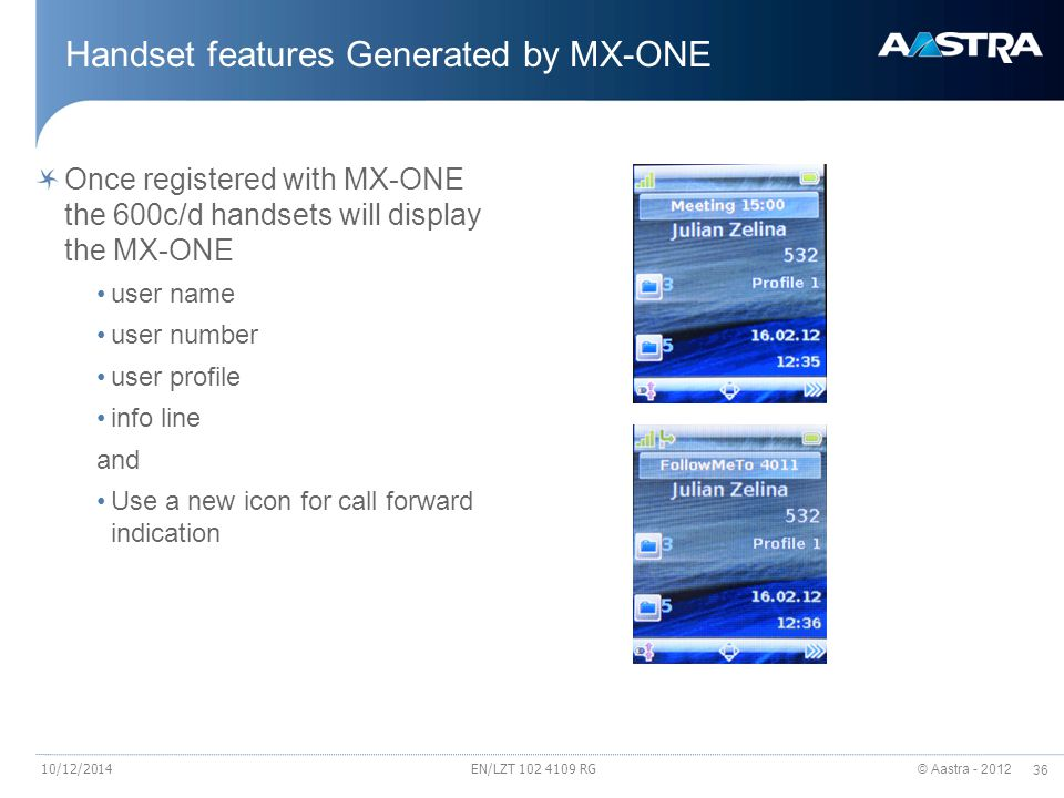 Handset features Generated by MX-ONE