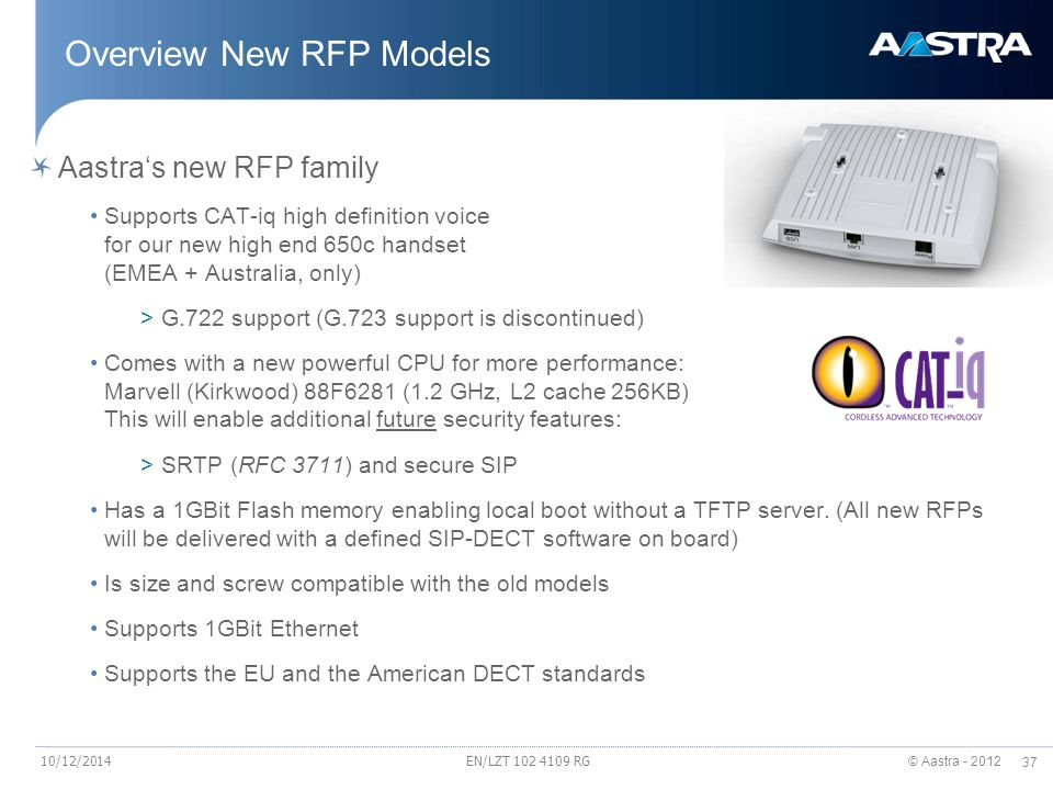 Overview New RFP Models