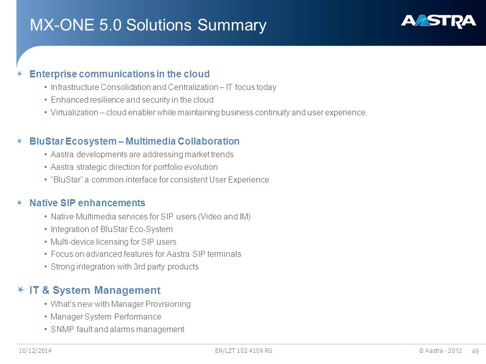 MX-ONE 5.0 Solutions Summary