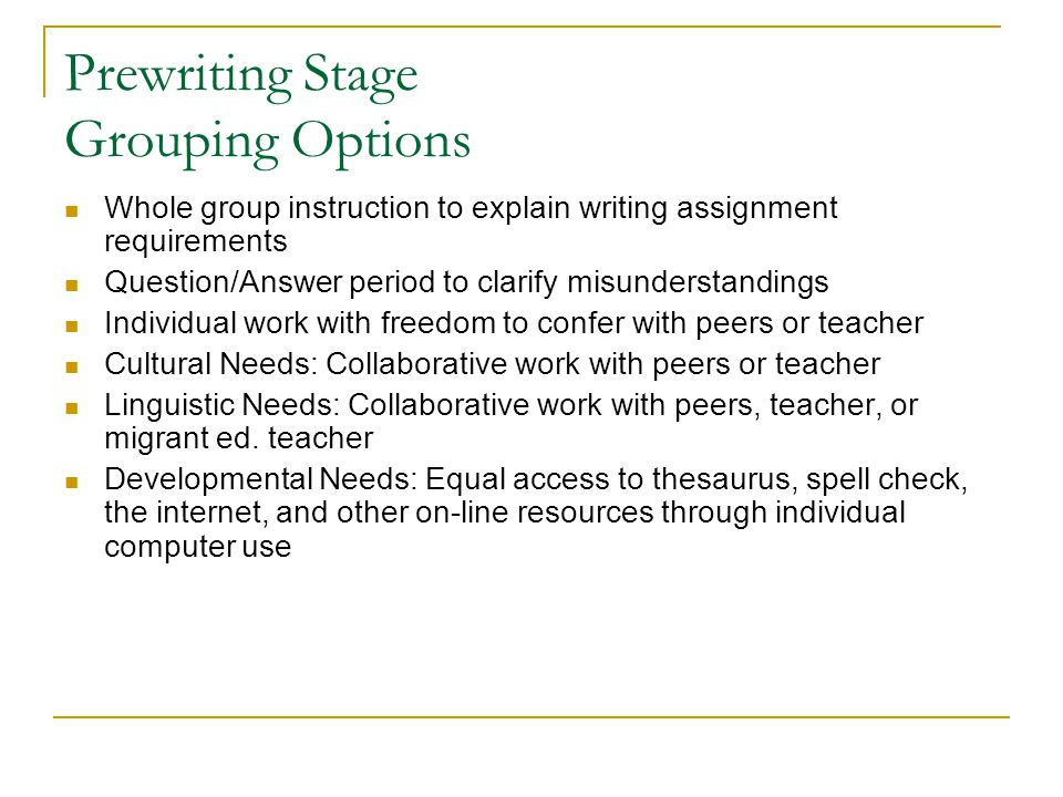Prewriting Stage Grouping Options