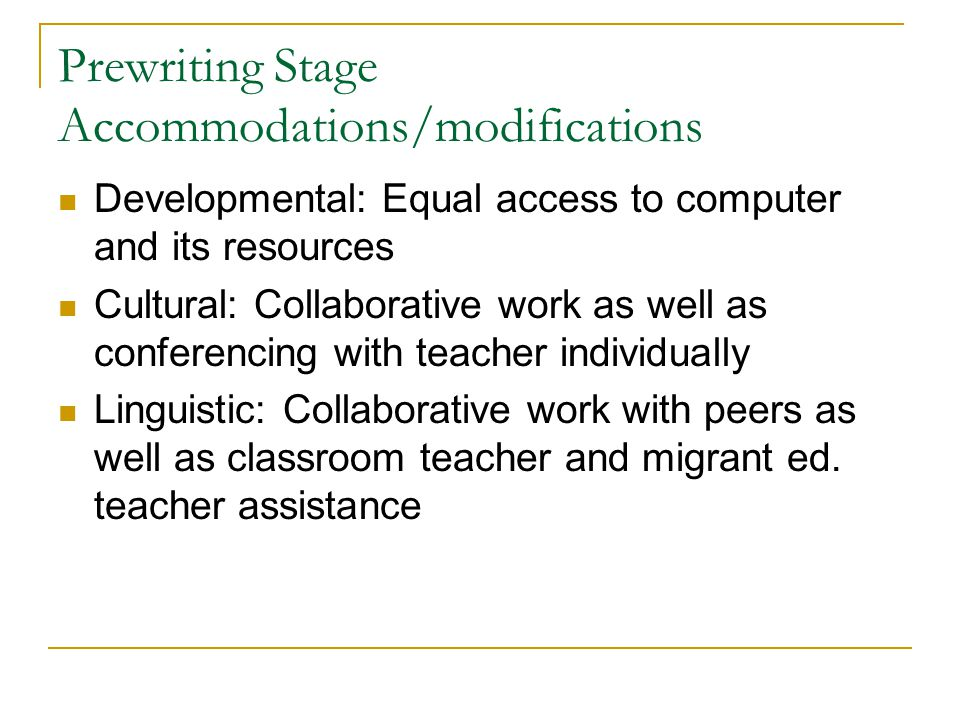 Prewriting Stage Accommodations/modifications