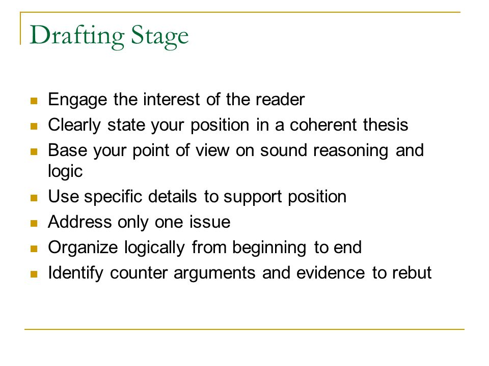Drafting Stage Engage the interest of the reader