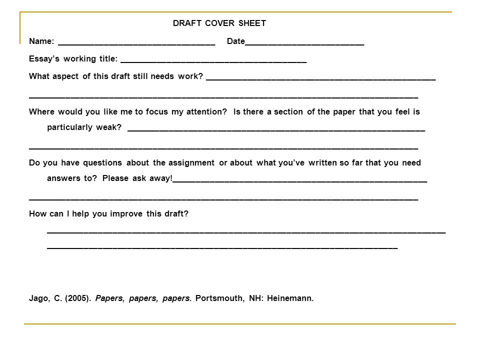 DRAFT COVER SHEET Name: _________________________________ Date_________________________.