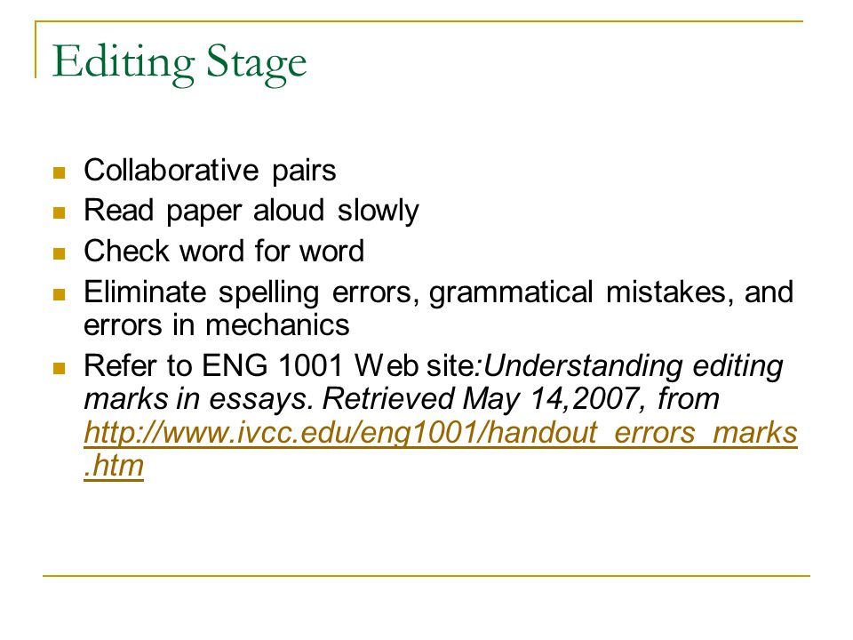 Editing Stage Collaborative pairs Read paper aloud slowly