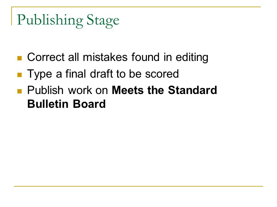 Publishing Stage Correct all mistakes found in editing