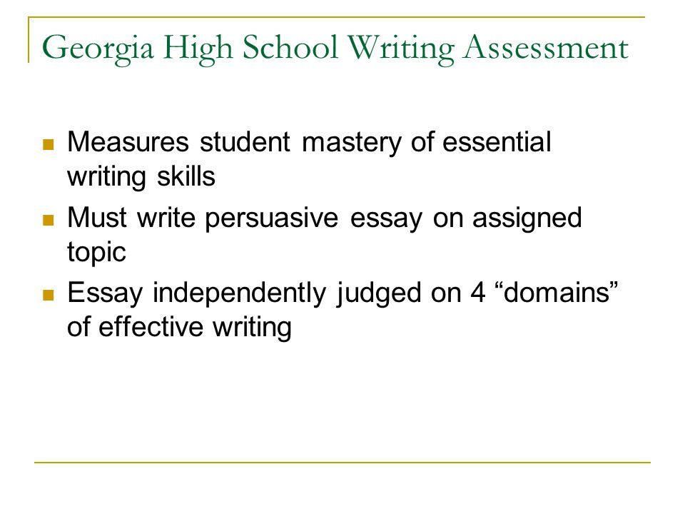 Georgia High School Writing Assessment