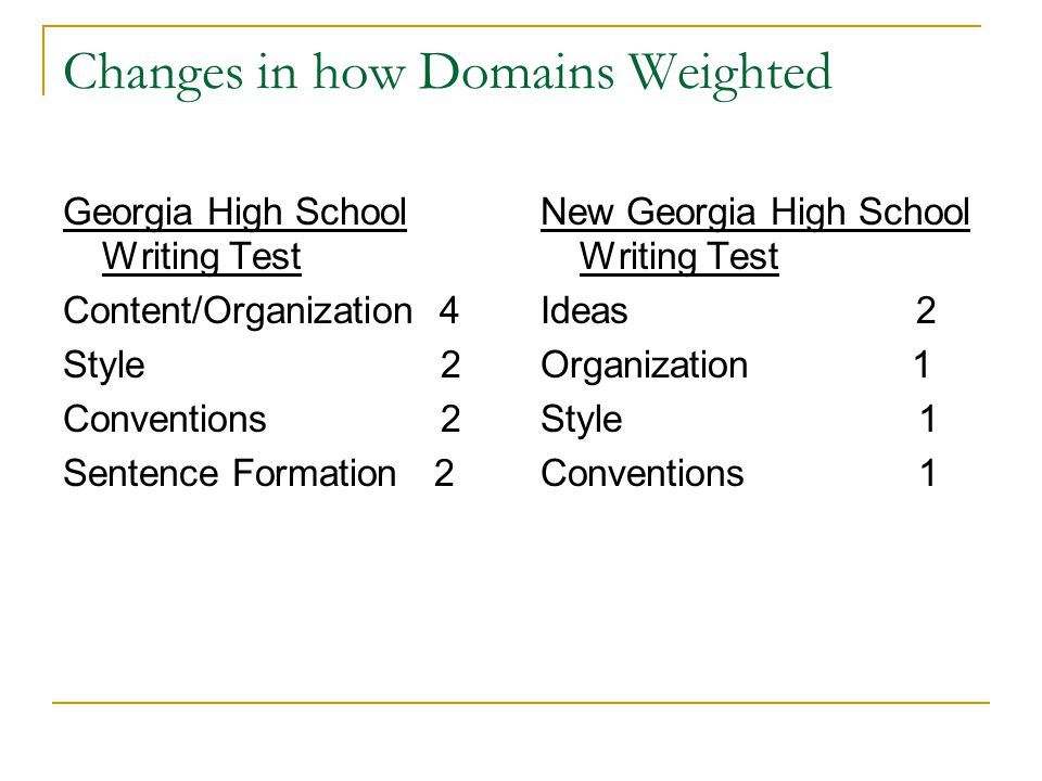 Changes in how Domains Weighted