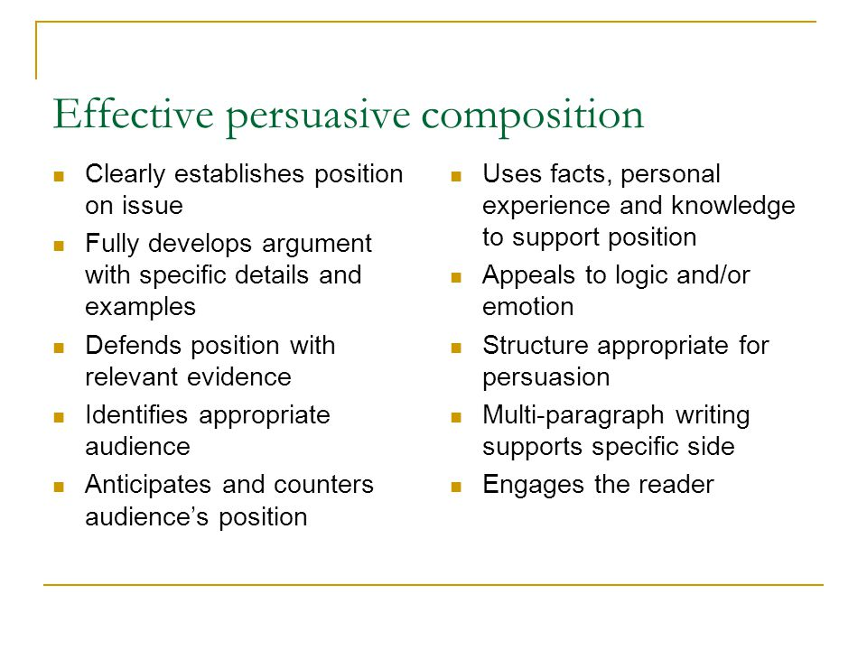 Effective persuasive composition