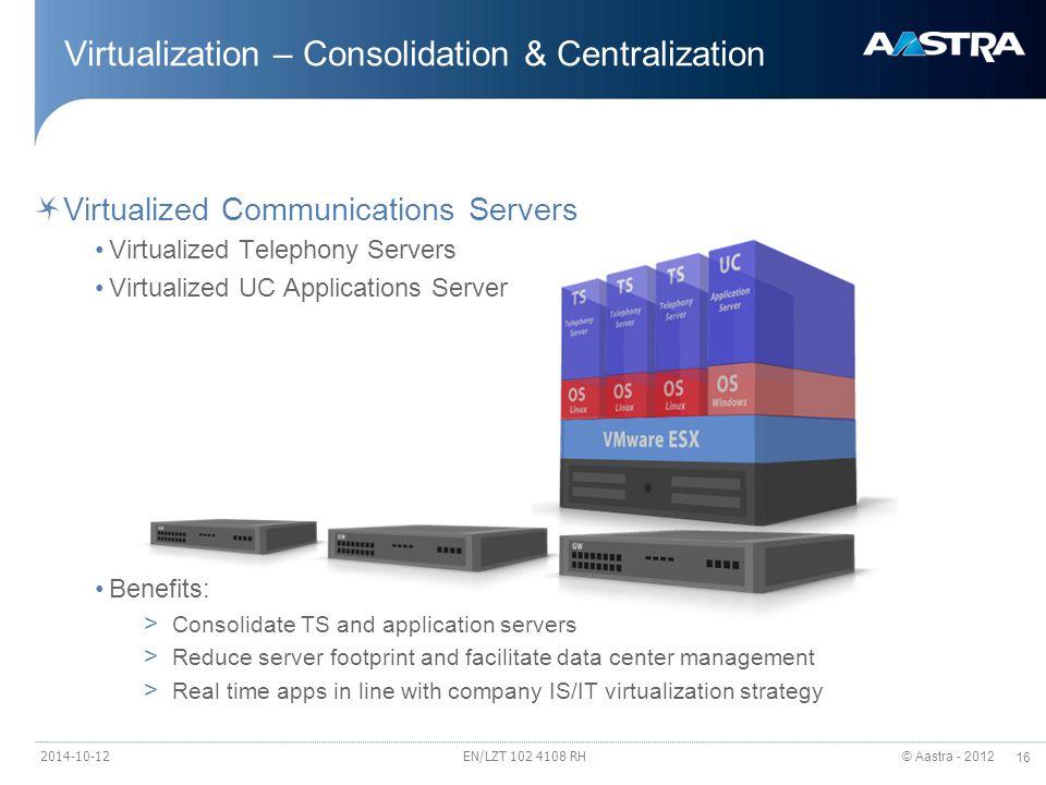 Virtualization – Consolidation & Centralization