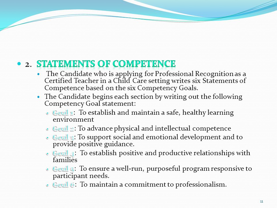 2. Statements of Competence