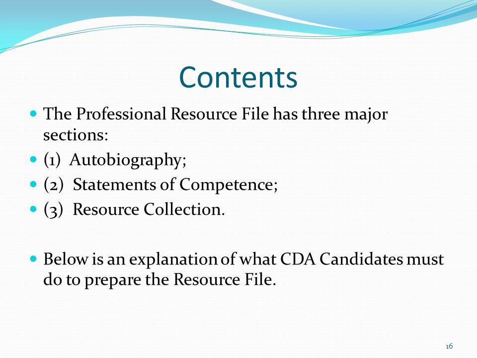Contents The Professional Resource File has three major sections: