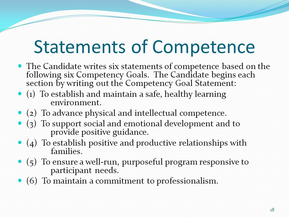 cda goal 2 competency statement Free essays on competency goal 2 cda get help with your writing 1 through 30   for this assignment you should write your competency statement goal 2: • list at.