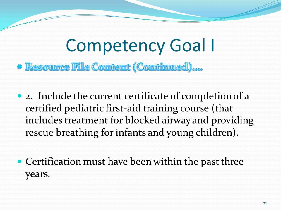 Competency Goal I Resource File Content (Continued)….
