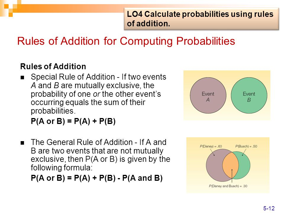 Rules of Addition for Computing Probabilities