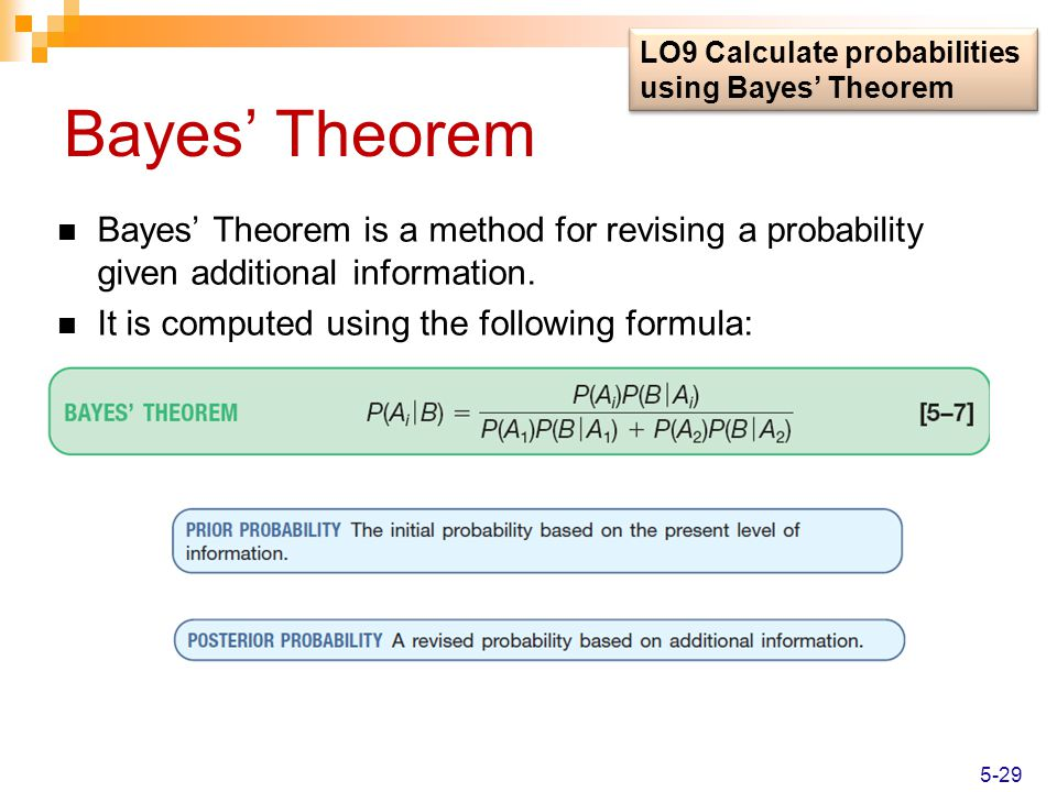 LO9 Calculate probabilities using Bayes' Theorem