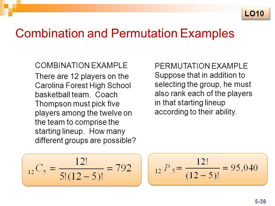 Combination and Permutation Examples