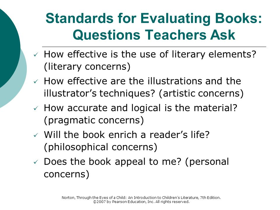 Standards for Evaluating Books: Questions Teachers Ask