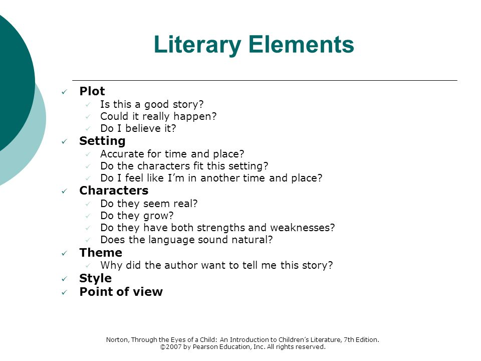 Literary Elements Plot Setting Characters Theme Style Point of view