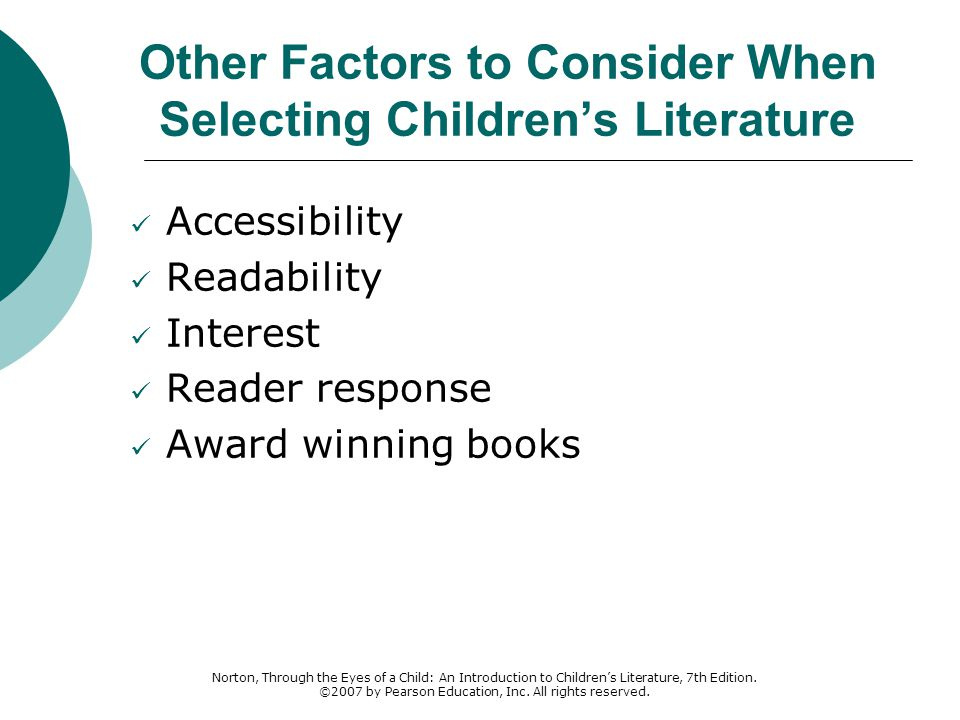 Other Factors to Consider When Selecting Children's Literature