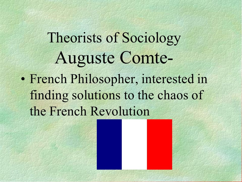 Theorists of Sociology Auguste Comte-