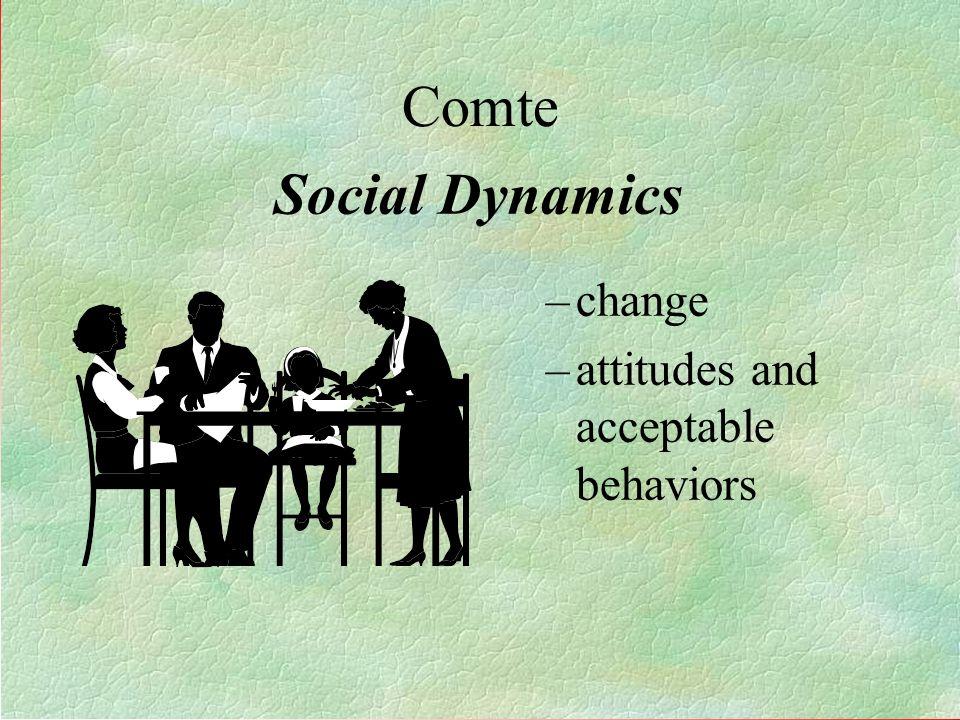 Comte Social Dynamics change attitudes and acceptable behaviors 5