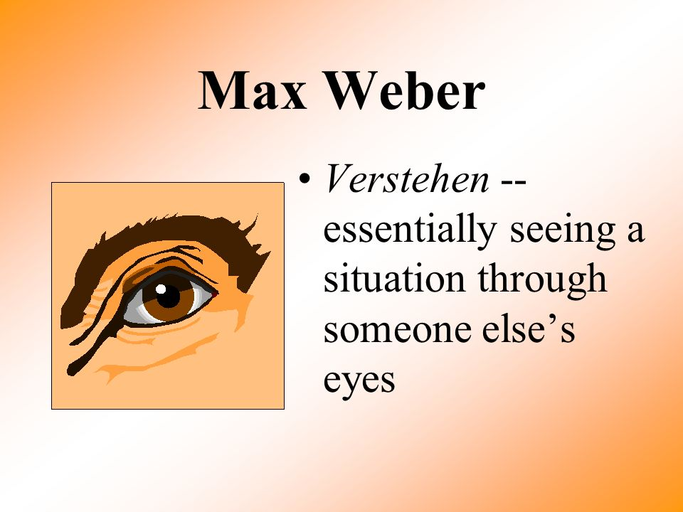 Max Weber Verstehen -- essentially seeing a situation through someone else's eyes