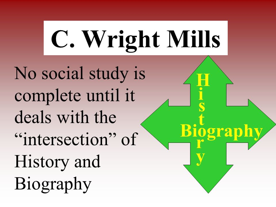 C. Wright MillsNo social study is complete until it deals with the intersection of History and Biography.