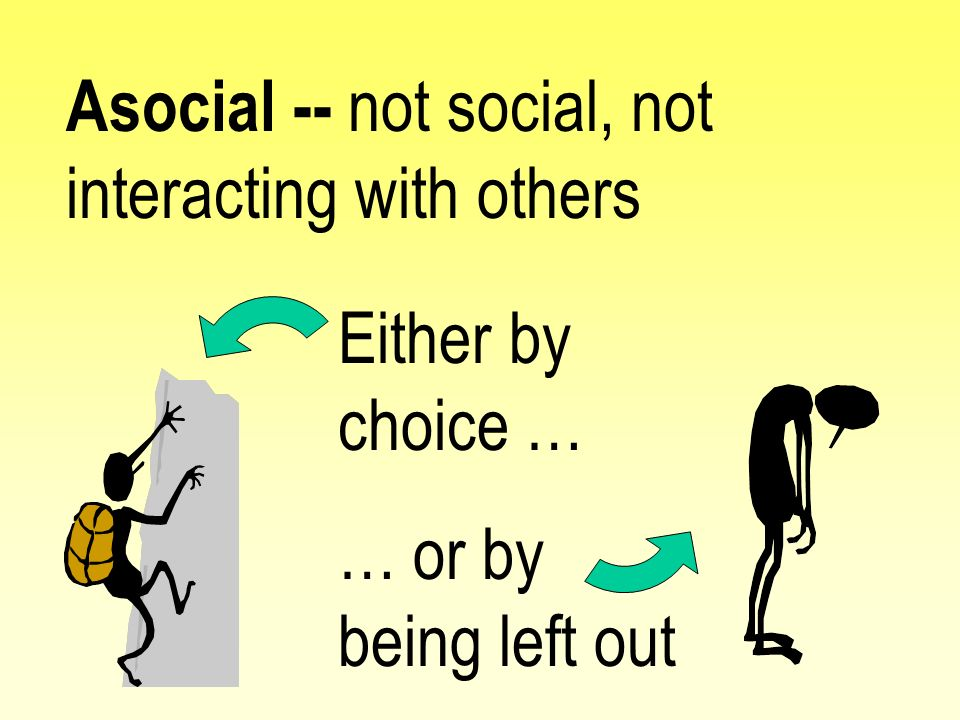Asocial -- not social, not interacting with others