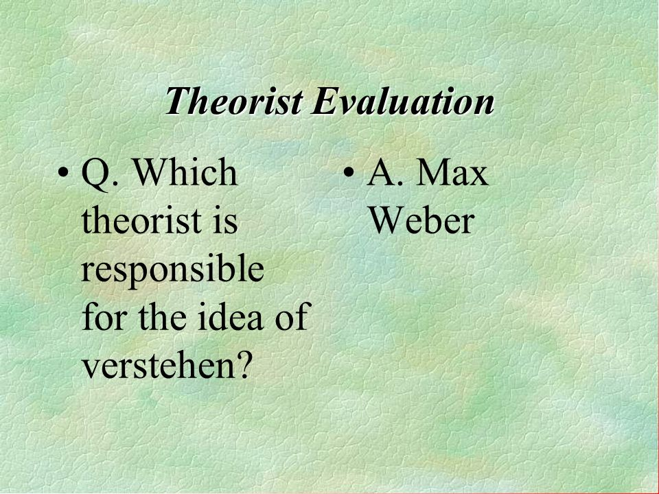 Q. Which theorist is responsible for the idea of verstehen